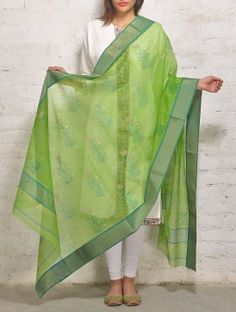 Green Zari Khari Maheshwari Dupatta