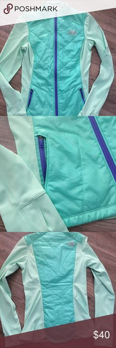 The North Face jacket The North Face Size XS Mint green/ purple full zip jacket Purple zipper pockets Puffer style front panel Athletic style sleeves Scalloped rear hem Thumbholes Fitted style Lightweight/packable The North Face Jackets & Coats Puffers