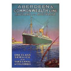 "Vintage poster with shipping print from ""Aberdeen & Commonwealth Line between England and Australia ..."