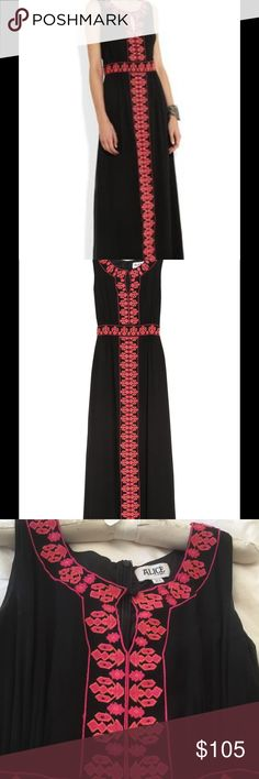 Gorgeous Alice Temperley maxi dress Size 6 Beautiful black with fushia embroidery Alice by Temperly maxi dress.  Fully lined.  Super flattering fit.  Purchased on Net-a-Porter.  Hidden zipper in back.  Only worn a couple times and in wonderful condition with no visible stains, pulls, tears, etc. ALICE by Temperley Dresses Maxi