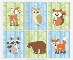 Woodland Animal Nursery Art Prints Set of 6 - Woodland Nursery Decor - Forest Friends - Baby Animal - Woodland Wall Art Woodland Creatures Nursery, Woodland Animals, Thing 1, Forest Friends, Woodland Nursery Decor, Nursery Wall Art, Wall Art Prints, Canvas Prints, Squirrel