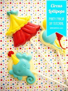 Cake it Pretty: Big Top Circus Party - DIY Chocolate Lollipops Party favors Lollipop Party, Clown Party, Circus Carnival Party, Bird Party, Carnival Birthday Parties, Circus Birthday, Birthday Party Favors, Carnival Ideas, Carnival Games