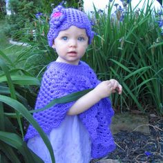Baby's Poncho and Hat Set, Purple Baby Poncho, Crochet Poncho,  Toddler's Poncho and Hat, Size 1T-2T,  In Mother's Garden. $60.00, via Etsy.