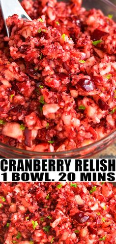 CRANBERRY RELISH RECIPE Quick easy made with simple ingredients in one pot bowl in 20 minutes Its a classic side dish or condiment for Christmas Thanksgiving This cranber. Thanksgiving Recipes, Holiday Recipes, Food Dishes, Side Dishes, Food Food, Appetizer Recipes, Dinner Recipes, Appetizers, Party Recipes