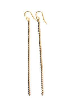 long oxidized silver earrings + gold hook www.zahavah.com
