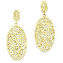 14K Gold Oval Dangle Earrings