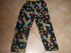 Autism Puzzle Piece Ribbon Fleece PJ Pants Child Sz L 8/10 by CreationsbySpike on Etsy