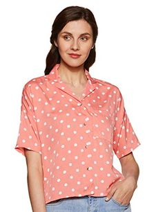 ABOF-Womens-Polka-dot-Regular-fit-Shirt Buy Skirts Online, Indian Tunic Tops, Embroidered Kurti, Crazy Fashion, Western Wear For Women, Fashion Deals, Skirts With Pockets, Flare Skirt, Workout Shirts