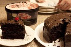 A super-moist, easy-as-a mix Chocolate Cake. The kind of cake grandma use to make, dressed up with a maraschino cherry filling and Glossy Chocolate Icing.