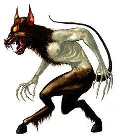 Psoglav (doghead) Serbian mythology: belief about it existed in parts of Bosnia and Montenegro. Psoglav was described as having a human body with horse legs, and dog's head with iron teeth and a single eye on the forehead.  Psoglavs were described to live in caves, or in a dark land, which has plenty of gemstones, but no sun. They practice anthropophagy, by eating people, or even digging out corpses from graves to eat them.