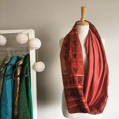Rust and Copper Patchwork Sari Snood Sari Fabric, Rust, Scarves, Kimono Top, Copper, Silk, Tops, Women, Fashion