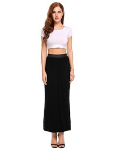 Zeagoo Lightweight Long Skirt For Women Ankle Length Maxi Slit Skirt - best woman's fashion products designed to provide Maxi Skirt With Slit, Skirts With Pockets, Maxi Skirts For Women, Casual Skirts, Women's Skirts, Jackets For Women, Clothes For Women, Ankle Length, Fashion Outfits
