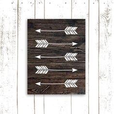 Arrow Art Print, Wood Background Art Print, Arrow Silhouette, Rustic Home Decor, Tribal Decor on Etsy, $18.00