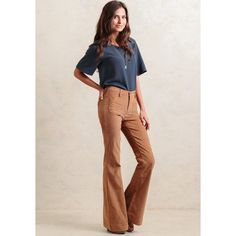 Ruche Jodie Corduroy Pants ($63) ❤ liked on Polyvore featuring pants, brown, high waisted trousers, pink pants, brown pants, high waisted corduroy pants and flare pants