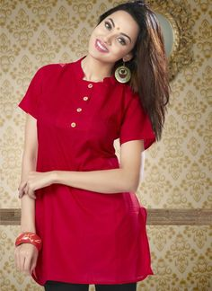 Lovely Red Short Indo Western Cotton Kurti