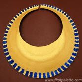 Craft an easy ancient Egyptian collar or necklace out of a paper plate. Wear it as part of an Egyptian costume together with our DIY Egyptian bracelet, Pharaoh Headdress, and ancient Egyptian headband.