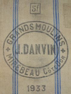PRINTED on 2 PANELS BURLAP 1933 Grain Bag or Flour Sack for Wall Hanging Authentic Vintage French