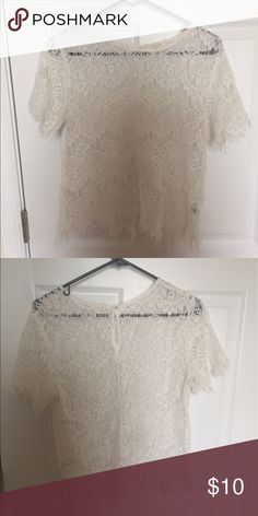 Lace shirt This is a white lace shirt. Size: large. Very pretty detail. Only worn once. Tops Blouses