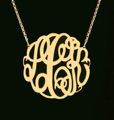 Gold Monogram Necklace by Purple Mermaid Designs #goldmonogramnecklace