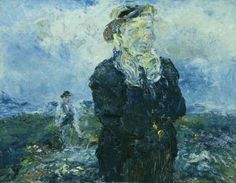 "Jack Butler Yeats (Irish, ""The Mountain Path,"" Oil on board Old Irish, Irish Art, Irish Painters, Jack B, William Butler Yeats, Blue Art, Contemporary Paintings, Impressionist, Master Chief"