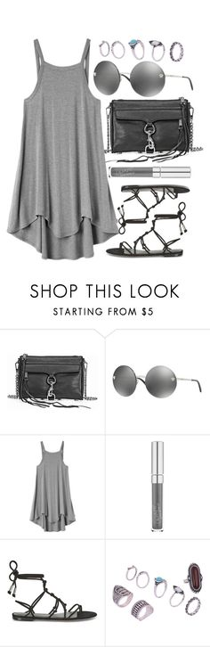"""Gray End"" by smartbuyglasses-uk ❤ liked on Polyvore featuring Rebecca Minkoff, Versace, RVCA, black, versace and gray"