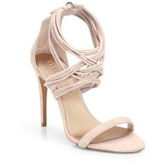 Burberry Delabole Suede High-Heel Sandals ($243) ❤ liked on Polyvore featuring shoes, sandals, heels, sapatos, burberry, nude pink, stiletto sandals, nude heel sandals, strap sandals and burberry sandals