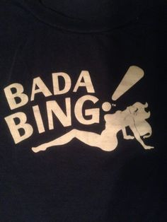 Bada Bing! T Shirt Tee Soprano TV Naked Woman Strip Club Mafia HBO 2XL Navy EUC  #HBO #GraphicTee #Mafia #Sopranos