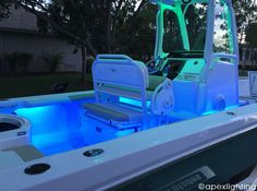 Lumitec LED Rail Lights Mounted under the Gunnels on Center Console Boat