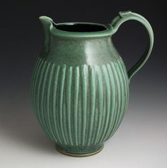 Green Lines 2 Quart Pitcher FREE SHIPPING by baumanstoneware