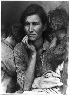 """Dorothea Lange's """"Migrant Mother,"""" destitute in a pea picker's camp, because of the failure of the early pea crop. These people had just sold their tent in order to buy food. Most of the 2,500 people in this camp were destitute. By the end of the decade there were still 4 million migrants on the road."""