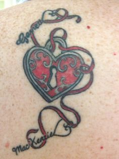 Heart Lock Tattoo I got with my kids name are the keys
