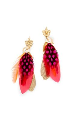 Dyed feathers add a pop of color to these GAS Bijoux earrings. Snap-bar clasp.