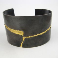 NINA DINOFF River Bracelet  Copper with Patina and Gold Leaf