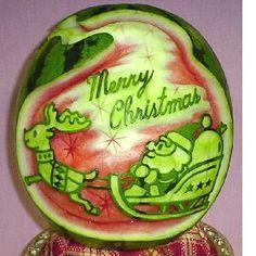 watermelon sculpture: Merry Christmas.