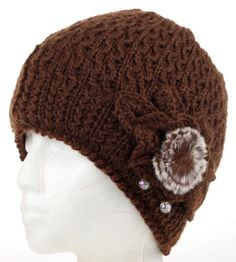 Knitted Beanie Crochet Winter Hat with Elegant Knitted Flower and Fur Ball, Many Colors $5.49 (save $4.50)