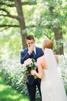 Gets us every time!  (Photo by Booth Photography)  #wedding #firstlook #bride