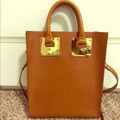 "Sophie Hulme Tote Cognac tote with top handle and also strap. Dimensions: 12.5"" X 10.5"" X 3.25"" in. Drop: 19.25"" drop. Barely worn because not my style. Wiped down with leather conditioner. Will provide a dust cover. Sophie Hulme Bags Totes"
