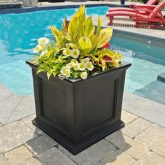 Mayne Fairfield 20 in. Square Black Plastic Planter-5825B - The Home Depot