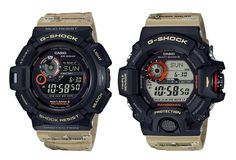Casio G-Shock wraps its new Master of G series in a desert camo finish. G Shock Watches, Cool Watches, Watches For Men, Patek Philippe, Casio G Shock Military, Devon, Tag Heuer, Military Fashion, Mens Fashion