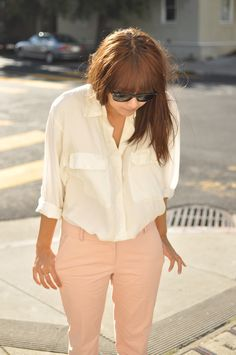 I was wearing this exact outfit yesterday! White blouse and pale pink pants.