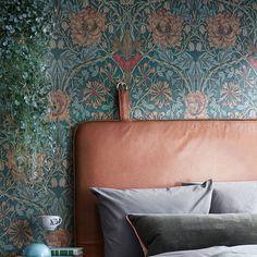 Dreamy #them #headboard #bythornam #leather #handmade #madeindenmark #danishdesign #furniture #interiordesign #bedroom #bedroomdecor #slowliving #unique #wallpaper @larsranek