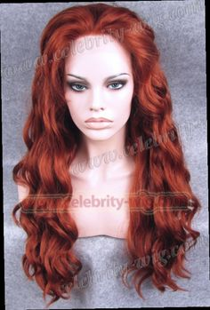 42.49$  Buy now - http://ali06y.worldwells.pw/go.php?t=1183735785 - N6-350# Stunning Reddish Auburn Color Fashion Deep Wavy Synthetic Lace Front Wig  Heat Resistant Wigs 42.49$