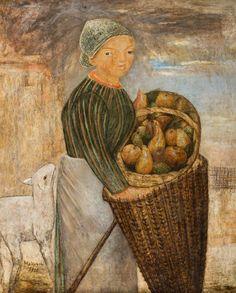 TADEUSZ MAKOWSKI (1882 - 1932)  DZIEWCZYNKA Z KOSZEM OWOCÓW I BARANKIEM, 1923   olej, płótno / 100 x 81 cm  sygn. l.d.: Makowski 1923