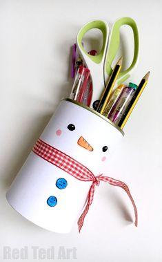 Snowman pencil holder craft