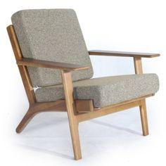 Amazon.com: Kardiel Hans J Wegner Style Plank Armchair, Oatmeal Twill/Dark Wood: Furniture & Decor