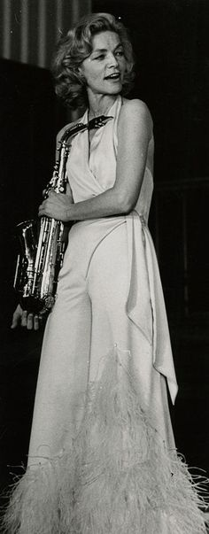 Lauren Bacall, is she going to play the saxaphone?