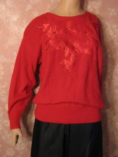 69c25d029 Vintage Christmas Sweater Novelty Fluffy Acrylic Red Satin flowers Sequins  faux pearls M poinsettia