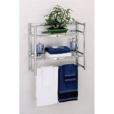 Zenith Wall Shelf with 2 Glass Shelves, Chrome Finish