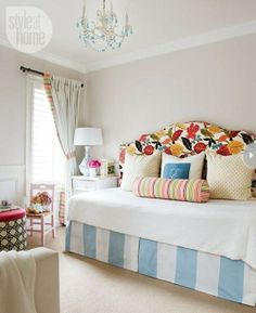 Centsational Girl: 5 ways to mix patterns, colorful fabric headboard on day bed, blue and white stripes, guest room