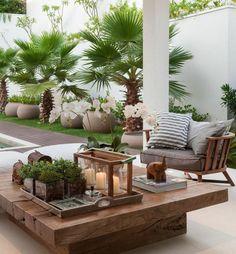 60 ideas on how to decorate the terrace- 60 Ideen, wie Sie die Terrasse dekorieren können Modern terrace design with low table - Outdoor Living Rooms, Outdoor Spaces, Outdoor Decor, Outdoor Lounge, Outdoor Kitchens, Outdoor Furniture, Rustic Furniture, Living Spaces, Outdoor Ideas